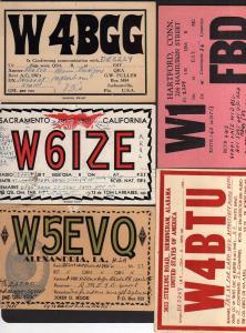 5 Ansichtskarte Radiokarten USA 1934 Jacksonville Sacramento Alexandria Hartford Birm