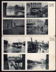 2 Ansichtskarte Luzern Hochwasser 1910 Pferdebahn im Wasser Hotel Schwanen Notstege