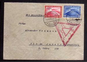 B2699 Brief DR 496 497 1.-/2.- Mark Chicagofahrt auf Brief 50. Ozeanquerung 1933