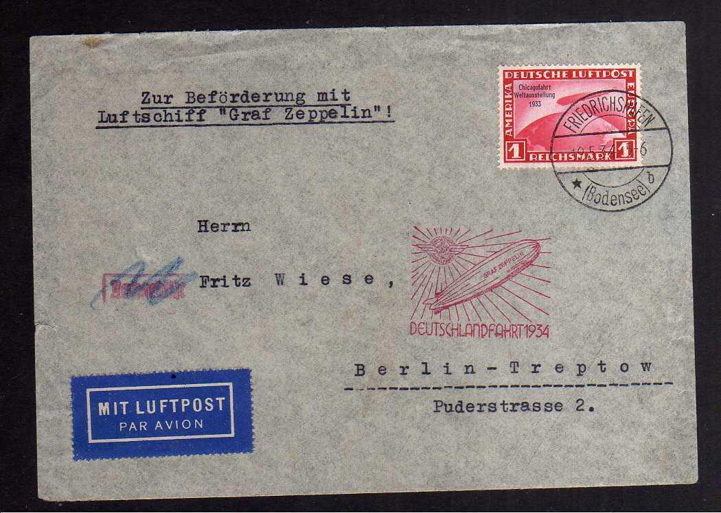 B2698 Brief DR 496 1.- Mark Chicagofahrt auf Brief Deutschlandfahrt 1934 0
