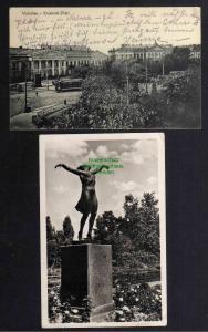 2 Ansichtskarte Warschau Krasinski Platz 1916 Denkmal 1952