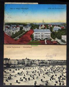 2 Ansichtskarte Swinemünde Blick vom Kurhaus Turm Hotel Bellevue 1923 Dünenstraße