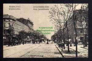 Ansichtskarte Warschau Warszawa 1915 Jerozolimskie Allee Zensur 1915 Geprüft