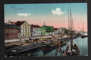Ansichtskarte Tilsit Sowetsk Neues Bollwerk Hafen um 1920