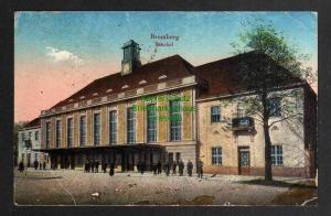 Ansichtskarte Bydgoszcz Bromberg Bahnhof Straßenseite Feldpost 1916