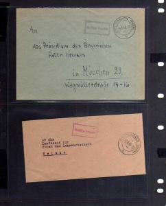 B780 2x SBZ Brief Gebühr bezahlt 1945 Stützerbach Thür. an bayr. Rotes Kreuz