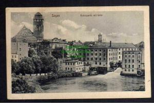 Ansichtskarte Sagan Boberpartie mit Wehr um 1920