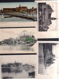5 Ansichtskarte Marienburg Wpr. Schloss Schiffbrücke um 1900 Hochschloss Brückentor