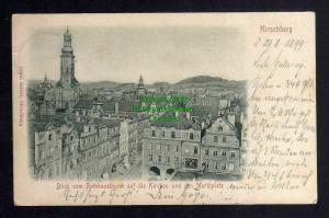 Ansichtskarte Hirschberg 1899 Blick vom Rathausturm Kirche Marktplatz