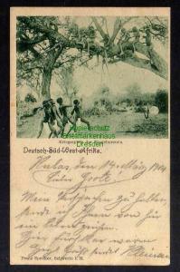 Ansichtskarte DSW Kubas 1904 m. Dienstsiegel Feldpost Kriegsspiele der Eingeborenen