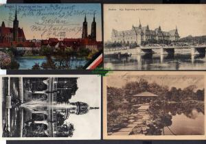 4 Ansichtskarte Breslau Regierung Lessingbrücke 1912 Kreuzkirche Dom Ausstellung