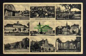 Ansichtskarte Sulechow Züllichau um 1930 Oderbrücke Schule Landratsamt Markt Rathaus
