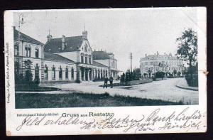 Ansichtskarte Rastatt 1899 Bahnhof Bahnhofshotel