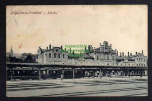 Ansichtskarte Hohenstein-Ernstthal 1911 Bahnhof Gleisseite Soldatenbrief
