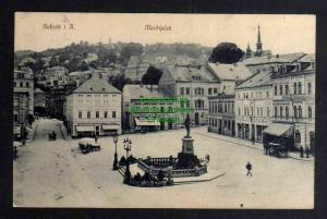 Ansichtskarte Sebnitz Marktplatz 1912 viele Geschäfte Hotel Brunnen