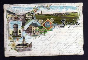 Ansichtskarte Sayda Erzgebirge Litho 1897 Kirche Wasserturm Rathaus Haptstrasse