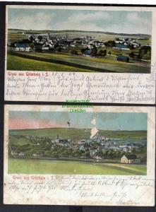 2 Ansichtskarte  Grünhain 1904 Panorama