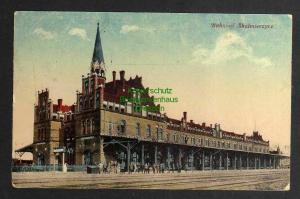 Ansichtskarte Skalmierzyce Bahnhof 1918 Feldpost