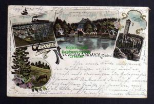 Ansichtskarte Nitschhammer 1899 Carolaturm Eisenbahnbrücke Mittweida Markersbach