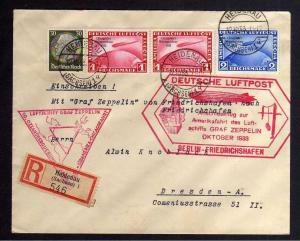 B2700 Brief DR 2x 496 497 1.-/2.- Mark Chicagofahrt Brief 50. Ozeanquerung 1933