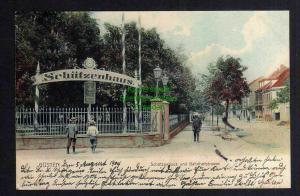 Ansichtskarte Güsten Anhalt Schützenhaus und Bahnhofstrasse 1904