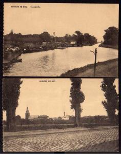2 Ansichtskarte Aubigny au Bac Kanalpartie Kirche