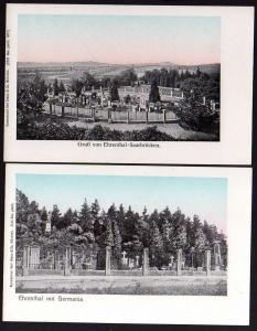 2 Ansichtskarte Ehrenthal Saarbrücken 1905 Germania 1907