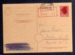 B329 SBZ Ganzsache Hitler geschwärzt Gebühr bezahlt 1945 Dresden 25