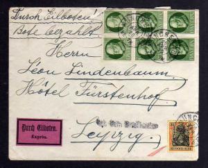 B007 Brief Eilboten Expres 1920 aus dem Briefkasten nach Leipzig Leon Lindenbaum