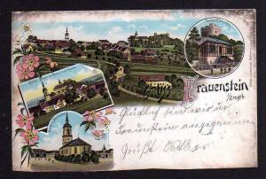 Ansichtskarte Litho Frauenstein Erzgebirge Kirche Schloss Ruine Parkschlösschen 1899