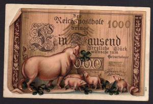 Ansichtskarte Geldscheinkarte Ein Tausend Glückwünsche 1909 Glücksschweine Ferkel