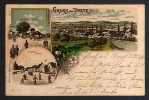 Ansichtskarte Deetz Groß Kreutz Havel Litho 1898 Pfarrhaus Kirche Panorama