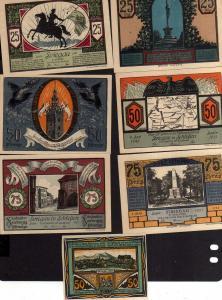 v247 Striegau 1920 1921 SCHLESIEN Notgeld 7 Scheine  sehr guter Zustand