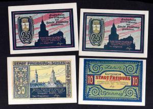 v238 Notgeld Freiburg Schlesien 4 Scheine 1921 sehr guter Zustand
