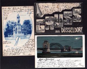 3 Ansichtskarte Düsseldorf 1906 Ratinger Tor Schadowstrasse Alleestrasse Rheinbrücke