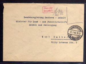 B443 SBZ Brief Gebühr bezahlt 1948 Hadmersleben Kr. Wanzleben an Landesregierung