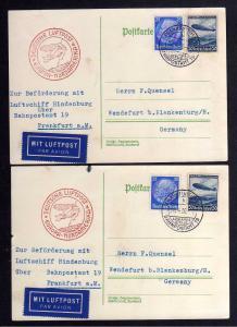 B1189 2 Karten DR 1936 Luftschiff Hindenburg Deutsche Luftpost Europa Nordamerik