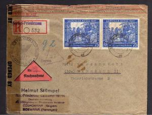 B1006 Brief 2x 966 MeF Einschreiben Berlin Friedenau nach Radebeul + US Zensur
