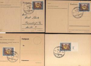B1172 4x Deutsches Reich 828 FDC SST Tag der Briefmarke Dresden Berlin 10.1.43