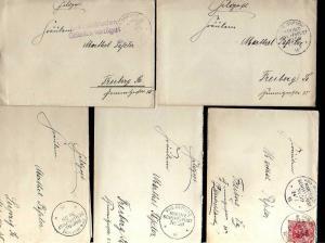 B1178 5 Briefe Marineschiffspost 59 SMS Kaiser 1914 1915 1916 1x aus militärisch