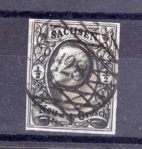 B1334 Sachsen 9 Johann Nummernstempel 128 Scheibenberg