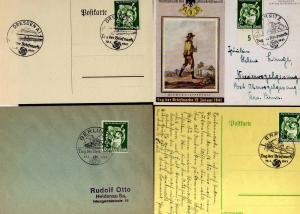 B1170 4x Deutsches Reich 762 FDC SST Tag der Briefmarke Chemnitz Erfurt Dresden