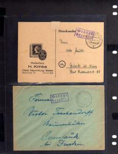 B607 6x SBZ Brief Karte Gebühr bezahlt 1945 Namburg nach Gröditz Cossebaude Ronn