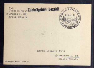 B608 Karte SBZ Gebühr bezahlt 1945 Nebra Sonderform Zustellgebühr bezahlt