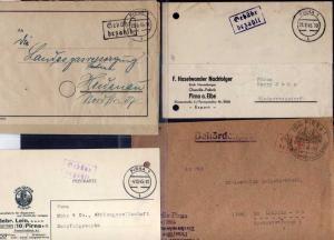 B666 4x SBZ Brief Karte Gebühr bezahlt 1945 Pößneck Einschreiben nach Weimar Ham