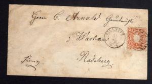 B1326 Sachsen 15 Wappen Nummernstempel 193 Pillnitz 1866 Brief Grundmühle Wachau