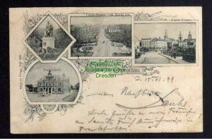 Ansichtskarte Sprottau Szprotawa Schlesien 1899 Post laube Denkmal Laube Strasse