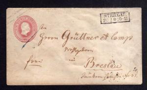 v245 Preussen Ganzsache Striegau um 1860 nach Breslau