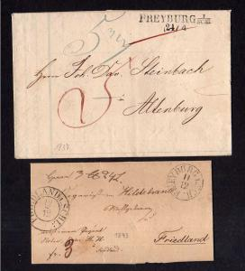 v234 Freyburg Schlesien 1837 Vorphila Faltbrief 1843 nach Friedland