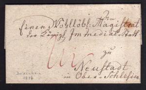 v241 Vorphila Faltbrief Bolkenhain Schlesien 1816